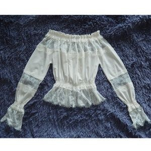 Off Shoulder See Through Lace Blouse XS